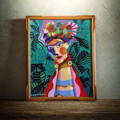 / frida / painting by rogeri pedro / Art And Illustration, Frida Paintings, Inspiration Artistique, Small Canvas Art, Arte Pop, Mural Art, Portrait Art, Portraits, Painting Inspiration