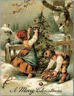 Old-fashioned Christmas Postcard - vintage gifts retro ideas cyo Merry Christmas Happy Holidays, Old Christmas, Christmas Scenes, Old Fashioned Christmas, Victorian Christmas, Christmas Greetings, Merry Xmas, Retro Christmas, Country Christmas