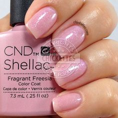 CND Shellac Fragrant Freesia - swatch by Chickettes.com. CND Shellac is available at www.esthersnc.com
