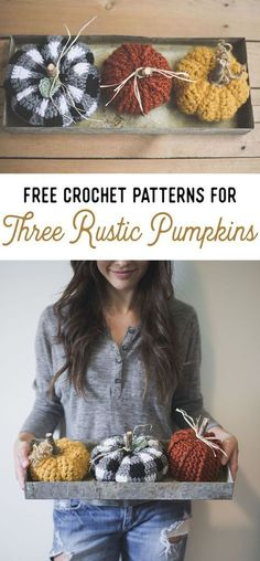 Crochet Patterns Fall Free Crochet Patterns for THREE Rustic Pumpkins — Megmade with Love Crochet Home Decor, Crochet Crafts, Crochet Toys, Crochet Projects, Free Crochet, Knit Crochet, Crochet Hoodie, Crochet Decoration, Crochet Things