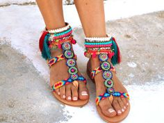 INKA Friendships Boho Sandals Pom pom summer shoes by DelosArt
