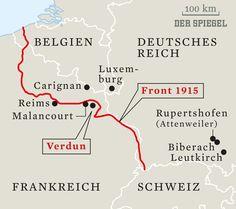 Hier is hevig gevochten omdat Duitsland de oorlog aan Frankrijk heeft verklaard en dat is de grens van de westfront en daar ligt het plaatje Verdun bij