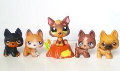 Littlest Pet Shop LOT Dog Puppy German Shepherd Collection 61 92 112 867 2137 EC #Hasbro