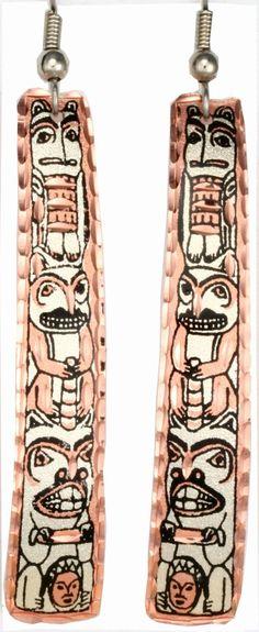 Native Totem Copper Earrings