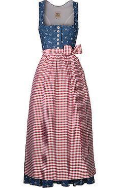 Aus Baumwolle, Viskose und Leinen gefertigtes Damen-Dirndl mit Schürze von Lodenfrey in Blau-Rot. Das aus Baumwolle und Leinen gefertigte Dirndl ist mit einem dezenten Blumenmuster und weißen Knöpfen versehen, die Seiden-Schürze hat ein Vichy-Karo in Weiß-Rot. Das Innenfutter ist ebenfalls aus Baumwolle gefertigt.