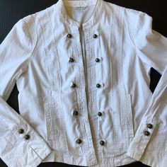 6be4601f3fa Details about Garnet Hill Womens Jacket White Buttons Size 12 Bomber