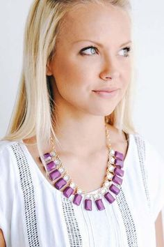 Rectangle Collar Necklace with Crystals
