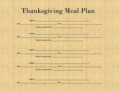 Thanksgiving Meal Plan & Ingredient List Printable