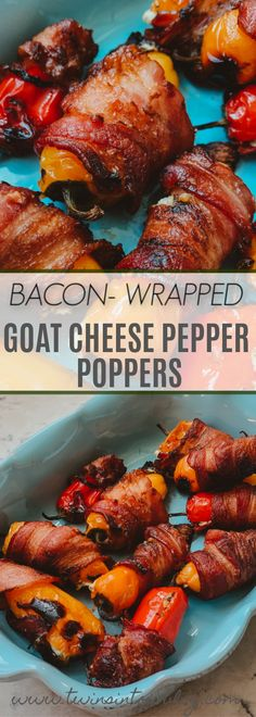 Bacon Wrapped Goat Cheese Pepper Poppers - Twins In Tow I took the traditional bacon wrapped jalapeños, and made some twists to make a not-so-boring appet Bacon Appetizers, Thanksgiving Appetizers, Easy Appetizer Recipes, Healthy Appetizers, Thanksgiving Recipes, Snack Recipes, Game Recipes, Honey Recipes, Holiday Appetizers