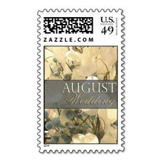 Cream and blue August Wedding Stamps  Repinned by Annie @ www.perfectpostage.com
