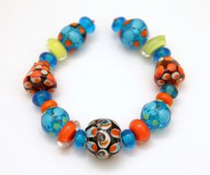 Artisan Lampwork Bead Set in Blues and Oranges by blancheandguy, $79.00