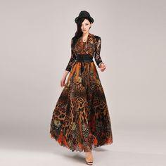 High Quality Newest Runway Maxi Dress Women's Stunning Charming Leopard Print Expansion Chiffon Long Dress Full Dress Plus Size alishoppbrasil