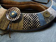 """Effet bois gris/""""dentelle""""/jeans. Plastron réalisé sous la double influence de Sophy et d'Isa."""