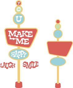 Silhouette Design Store - View Design #10297: 'you make me happy' retro sign