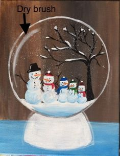 Learn how to paint a snow globe with acrylics on canvas. This beginner painting tutorial will show you how. Customize your own family of snowmen inside. Painting Snow, Pebble Painting, Christmas Snow Globes, Christmas Diy, Christmas Stuff, Christmas Ornaments, Globe Drawing, Burlap Bubble Wreath, First Grade Art