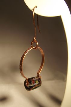 Copper embossed wire with dichroic glass bead