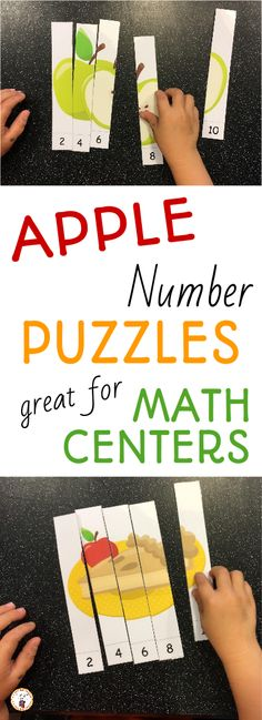 Apple Number Puzzles for Rote and Skip Counting Math Sorting Activities, Preschool Puzzles, Cognitive Activities, Preschool Crafts, Motor Activities, Kindergarten First Week, Homeschool Kindergarten, Kindergarten Apples, Homeschooling