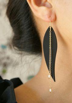 Black Metal Feather Earrings, Drop earrings, Statement earrings, 14kt gold filled chain tassel rice pearls cascade earrings