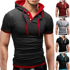 Mens Slim Fit Short Sleeve T Shirt Hoodie Hooded Muscle Tops Solid Casual Shirts Cool Outfits For Men, Casual Wear For Men, Slim Fit Polo Shirts, Casual Shirts, Camisa China, Black Red Wedding, One Piece Clothing, Bodybuilding Clothing, Soccer Pants
