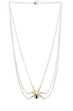 TOM BINNS   Gold Spider Necklace in Crystal