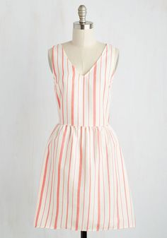 Cruise It Gonna Be? Dress - Red, White, Stripes, Print, Casual, Sundress, Nautical, A-line, Sleeveless, Spring, Woven, Good, Mid-length, Valentine's