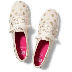 Keds x kate spade new york Champion ($75) ❤ liked on Polyvore featuring shoes, sneakers, keds, zapatos, black dot, black polka dot shoes, heart shoes, keds sneakers, dot shoes and shiny black shoes