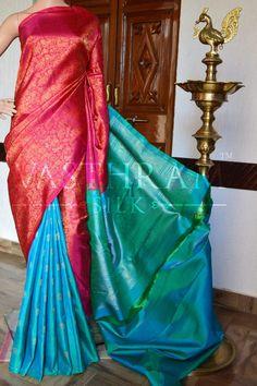 Tri Colour Pure Handwoven Kanchivaram Partly Saree With Zari Work All Over. Kanjivaram Sarees Silk, Kota Silk Saree, Wedding Silk Saree, Indian Silk Sarees, Bridal Lehenga, Dress Wedding, Kurta Designs, Blouse Designs, Indian Fashion