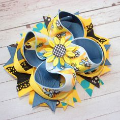 Cute bee stacked bow bee boutique hair bow bee OTT hair bow over the top hair…