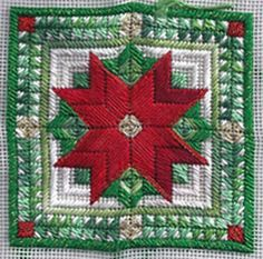 Poinsettia Square needlepoint
