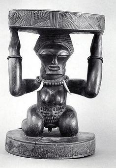 Prestige Stool: Female Caryatid. Congo