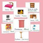 Vocabulario básico en castellano e inglés. El dormitorio