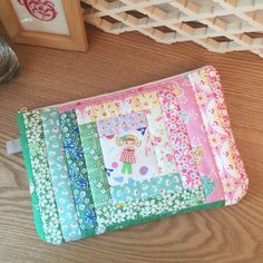Quilted Patchwork Zipper Pouch/ makeup bag/ cosmetic case - in green and pink