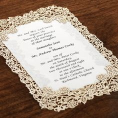 Laser Cut Gold Wedding Invitations | Vintage Laser Cut Invitation Kit -10pk