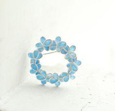 $65.00 Pale Blue Forget Me Not Flower Brooch Pin, Eco Friendly Sterling Silver Wearable Art Jewelry....