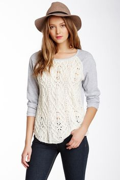 Raglan Cable Front Sweater by Democracy on @nordstrom_rack