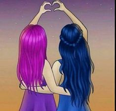 Mal and Evie = Friends Forever! Kawaii Girl Drawings, Cute Disney Drawings, Disney Princess Drawings, Cute Girl Drawing, Girly Drawings, Princess Art, Kawaii Disney, Griffonnages Kawaii, Disney Art