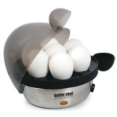 Better Chef 470S Electric Egg Cooker, Stainless by Better Chef. $13.97. Removable cool touch tray with handle makes cooling and serving a cinch. Included measuring cup with firmness markings makes it easy to cook to desired hardness. Indicator lights when cooking, audible alert when finished, see-through lid. Durable stainless-steel base is easy to clean and built to last, complements any décor. Conveniently cooks 1 to 7 eggs in minutes, just add water, eggs,...