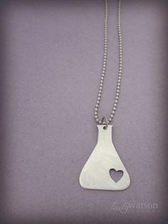 Science Beaker Chemistry Necklace Jewelry, Chemistry necklace, Nerd Necklace, Love Science jewelry