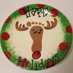 Christmas Plates, Christmas Party Decorations, Holiday Crafts, Painted Pottery, Pottery Painting, Painting For Kids, Art For Kids, Crafty Projects, Art Projects