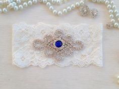 wedding garter  ivory/navy blue/royal blue bridal by venusshop, $15.90