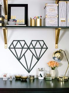 Add some fuss-free embellishments to your bedroom by adding washi tape in the shape of a crystal heart.