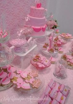 Such a pretty  Pink Minnie dessert table at this Princesss Birthday Party! See more party ideas at CatchMyParty.com