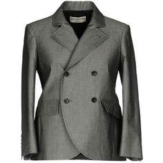Balenciaga Blazer (1040 PAB) ❤ liked on Polyvore featuring outerwear, jackets, blazers, grey, grey cotton blazer, gray cotton blazer, cotton jacket, grey blazers and balenciaga jacket