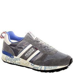 #Sneaker allacciata in tessuto e pelle grigia e blu.