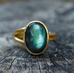 Aqua Green and Blue Labradorite Gold Ring - Oval, Adjustable Ring