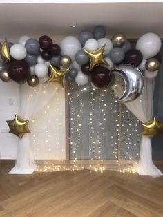 Moon & Stars backdrop - Moon and stars balloon backdrop… With lights. Perfect for baby showers/ gender reveals - Homecoming Decorations, Star Decorations, Balloon Decorations, Baby Shower Decorations, Arch Decoration, Balloon Backdrop, Baby Shower Backdrop, Baby Shower Balloons, Balloon Garland
