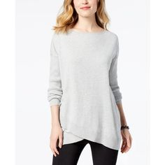 Style & Co Asymmetrical Sweater, Created for Macy's ($50) ❤ liked on Polyvore featuring tops, sweaters, light grey heather, heather grey sweater, style co sweaters, asymmetric tops, asymmetrical sweaters and style&co tops