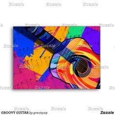 GROOVY GUITAR ENVELOPE - Send a note to the band, a guitarist or musician in this bright and colorful paint brush strokes with a groovy guitar cover this envelope, inside and out. by Gravityx9 Designs