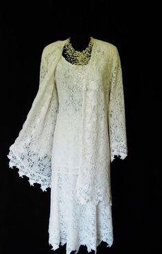 ANN BALON (Designer) Soft White Lace Skirt, Top  Jacket, 3 Piece Outfit, size XXL UK20/22