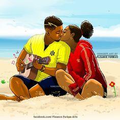 Black Couple Art, Black Love Couples, Black Girl Art, Black Women Art, Black Love Artwork, Black Art Pictures, Black Cartoon, Cartoon Art, Couple Noir